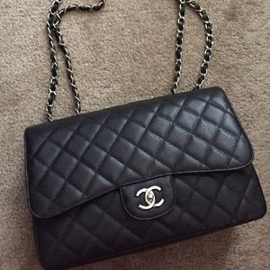 Handbags - Authentic CHANEL Caviar Quilted Jumbo Single Flap
